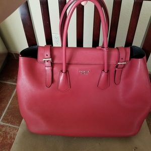 Prada br5071 fuoco city calf red tote bag